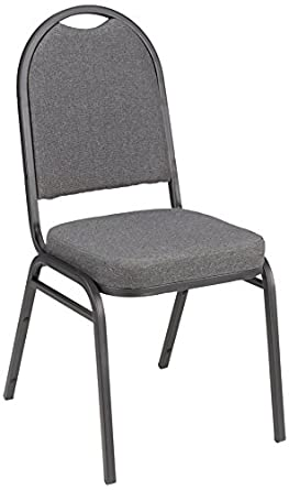 Fabric Stacking Banquet Chair With Round Back, 18u0026quot; Seat Height, Gray,  ALT