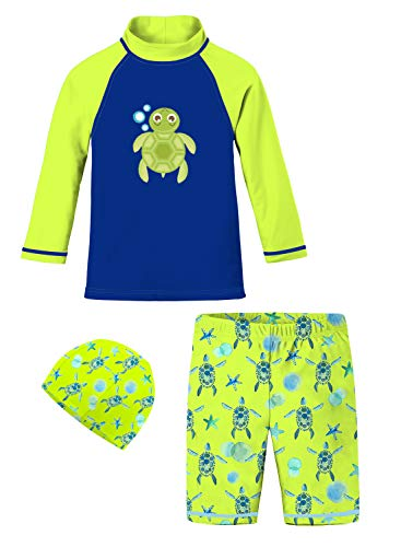 Baby 2T-8T Swimsuits Jammers 3-Piece Animal Printed Swimwear Sets Fluorescent Green Blue Bubble Turtle Starfish Swimming Costume Boardshorts Colored Shirt for Grandson Birthday]()