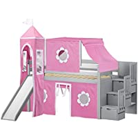 Jackpot Princess Low Loft Stairway Bed in Gray with Slide, Pink and White Tent and Tower