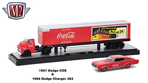 18 1966 Dodge Charger - M2 Machines 1957 Dodge COE and 1966 Dodge Charger 383 (Coke Red) Auto-Haulers Coca-Cola Release 1 Castline 2018 Premium Edition 1:64 Scale Die-Cast Vehicle Set (50B01 18-01)