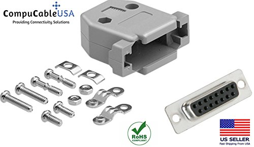(CompuCablePlusUSA.com Best DB15 Female Solder Cup Connector Kit With Plastic Hood Best Complete DB15 Female Solder Type set Fix/Make/Assembly your own DB15 Cable)