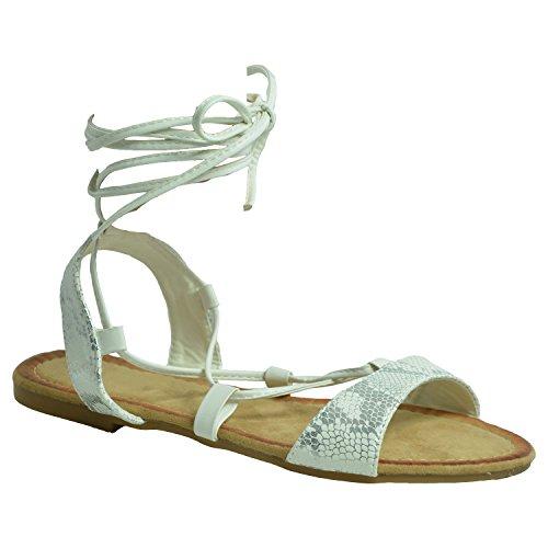 Cucu Fashion - Zapatos con tacón mujer Blanco - blanco