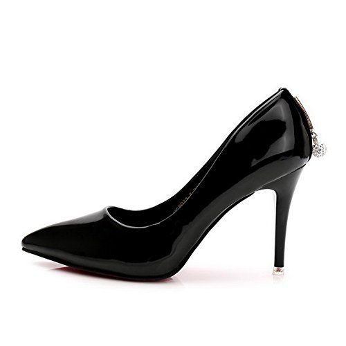 Stilettos Solid Pumps Womens Shoes Spikes Material Soft charms AalarDom Black nRxwx