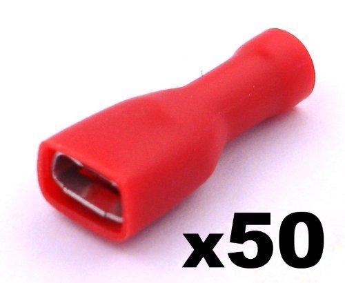 Kabelschuhe x 50 - Flachsteckhülsen Rot - Mit einem Steckmaß von 6,3 mm, Quetschverbinder, Isolierte - Für Kfz, Elektronik und Hobby - KOSTENLOSER VERSAND! ETA-5008x0050