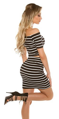 Damen Ripp Minirock gestreift - Figurbetonter Stripes Pencil Midi-Rock Skirt mit Streifen 34-38 (Schwarz)