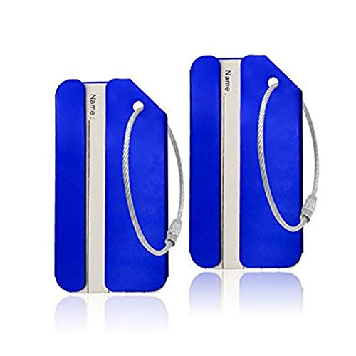 Aluminum Luggage Tags, Luggage Tag Travel Tags for Luggage ID Bag Baggage Suitcase Tag (Blue 2PCS)
