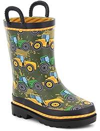 Boys Waterproof Printed Rain Boot with Easy Pull On Handles