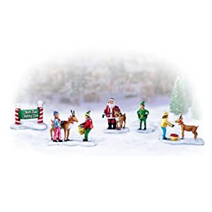 Miniature Christmas Village Figurine Accessory: North Pole Petting Zoo Set by The Bradford Exchange