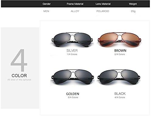 Gafas Tonos Jusheng Sol para Vintage Sol aviación Marca Hombres diseñador polarizadas Hombre de para de Black de Color Retro Black Gafas Gafas de gHHTqrwd