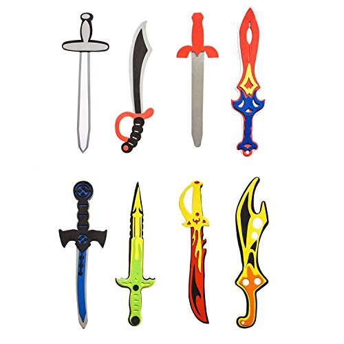 Super Z Outlet Assorted Foam Toy Swords for Children with Different Designs Including Ninja, Pirate, Warrior, and Viking (8 Pack)]()
