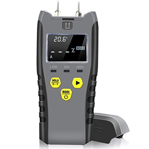 Wood Moisture Meter Pin-Type Water Leak Detector Damp Tester,LCD Backlity Display- Sensor for Moisture in Wood Concrete Drywall