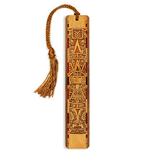 Engraved Wooden Bookmark - Aztec/Mayan Calendar Inspired Design - Search B0718SHS5S to See Personalized Version.