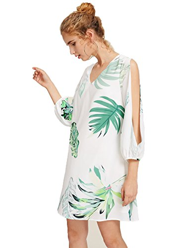 Milumia Women's Tropical Print Split Sleeve Dress Large White-Green (Print Dress Tropical Womens)