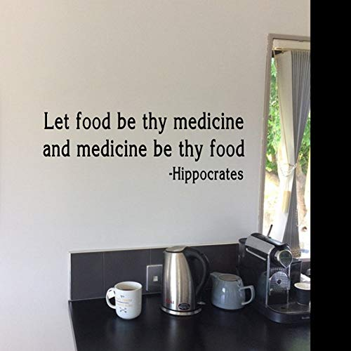 Tonaes Wall Words Sayings Removable Lettering Let Food Be Thy Medicine Health and Wellness Quote Home Decor Kitchen Decals -