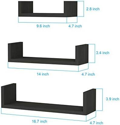SRIWATANA Floating Shelves Wall Mounted, Solid Wood Wall Shelves, Black