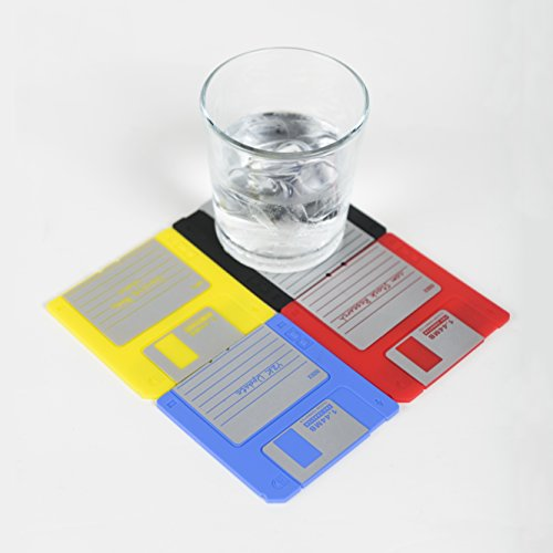 Nineties Nerd Retro Floppy Disk Non-slip Silicone Drink Coaster Set by Modern - For Guys Glasses Nerd