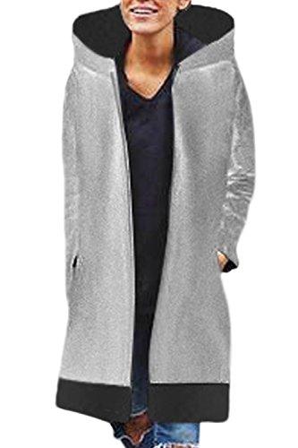 Chiudi Outercoat Inverno Colorblock Le Indumenti Midi Grey Donne Spessi In Incappucciato XC07qw