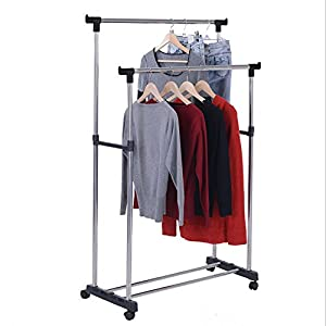 double pole b adjustable portable clothes. Black Bedroom Furniture Sets. Home Design Ideas