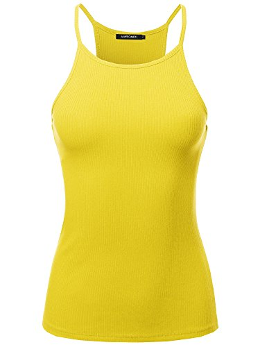 Awesome21 Solid High Neck Racer-Back Ribbed Spaghetti Strap Tank Top Yellow S