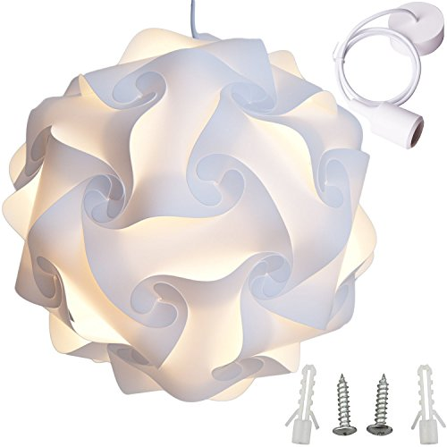 Pendant Medium Outdoor Lighting (Lightingsky Ceiling Pendant DIY IQ Jigsaw Puzzle Lamp Shade Kit with 40 Inch Hanging Cord (White, XL- 18 inch))