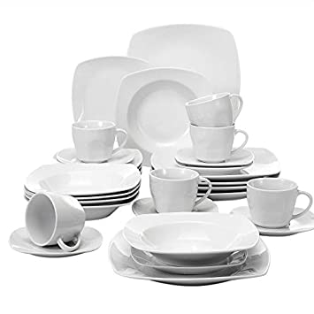 MALACASA, Série Julia, 30pcs Services de Table Complets Porcelaine, 6  Assiettes Plates, 5f271895b2ac