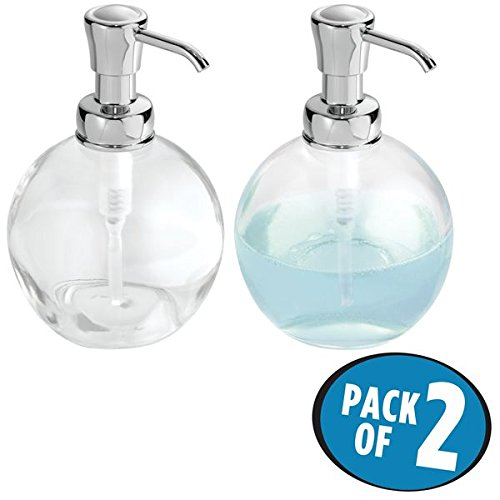 mDesign Round Glass Refillable Liquid Soap Dispenser Pump Bottle for Kitchen Sink, Bathroom Vanity Countertops, 14 Ounce, Holds Hand Lotion & Essential Oils - Pack of 2, Clear, Chrome Pump - Soap Classic Dish Glass