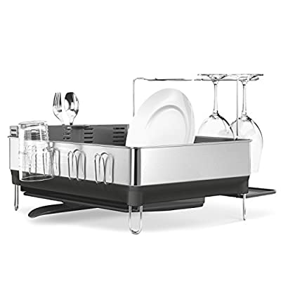 simplehuman Kitchen Compact Steel Frame Dish Rack with Swivel Spout Fingerprint-Proof Stainless