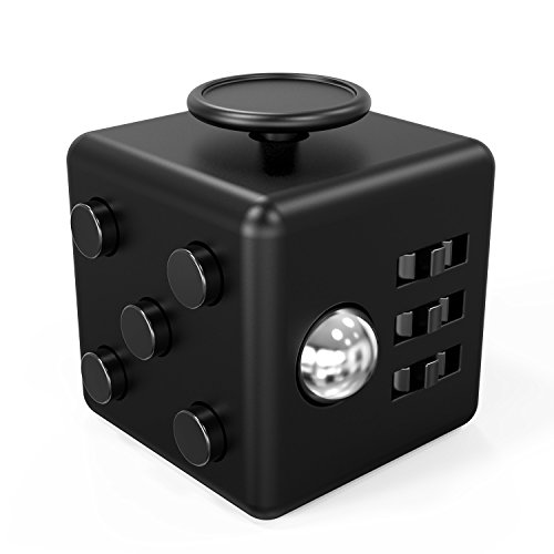FIDPRO Fidget Cube, Silent Dice Toy - Click, Flip, Glide, Spin, Rub & Roll, Ultimate Hexagon with Quiet Clicker for Increased Focus & Attention and Stress & Anxiety Relief [Dark (Magna Cube)