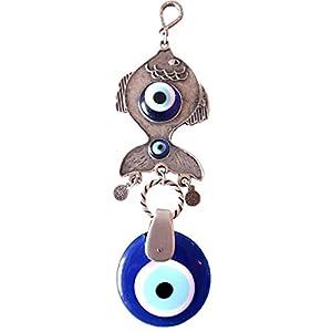 Handmade Evil Eye Glass Charm Silver Plated decorative Greek - Turkish - Jewish - Christian Christmas Spiritual Gifts ornament (Fish)