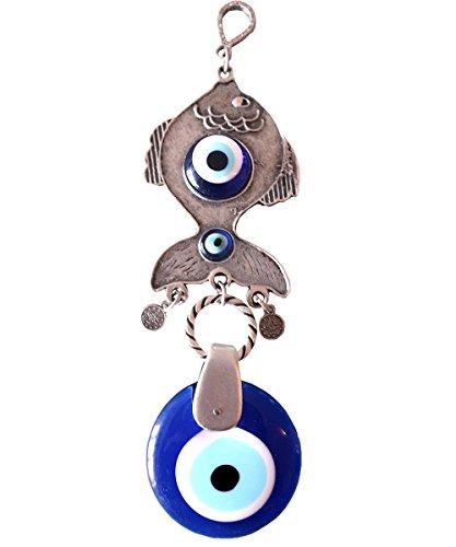 (Ebsem Handmade Evil Eye Glass Charm Silver Plated Decorative Greek - Turkish - Jewish - Christian Christmas Spiritual Gifts Ornament)