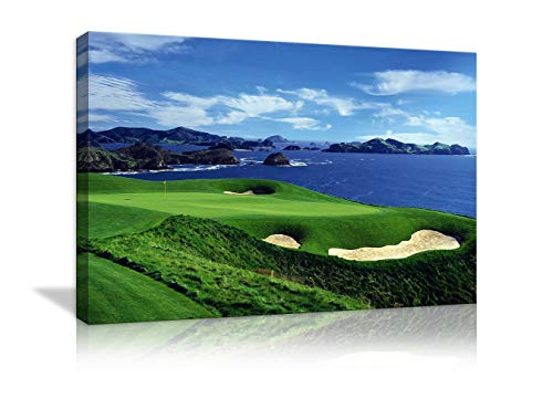 AMEMNY Large Wall Decor for Living Rooms Golf Course Landscape Painting Canvas Print Blue Sky and The Sea Landscape Wall Artwork HD Prints for Home with Framed Stretched Ready to Hang(36