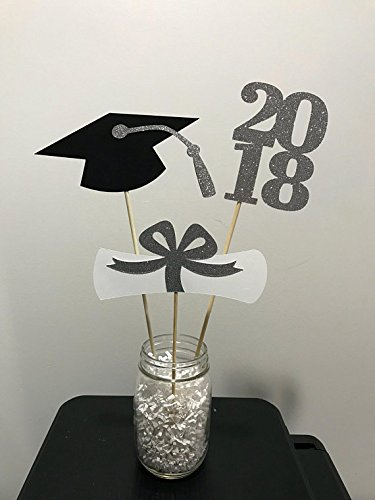 Grad White Table Decor - Graduation party decorations 2018, Centerpiece Sticks 2018, Grad Cap, Diploma, black and white glitter Graduation table decor silver ,black and white