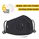 Anti Pollution Dust Mask with 2 Valves and 6 Filters N99 Protection | Anti Smoke Mask, Exhaust Gas, Dust Proof, Particulate Respirator, Pollen, Fumes mask | Washable for Indoor and Outdoor Activities