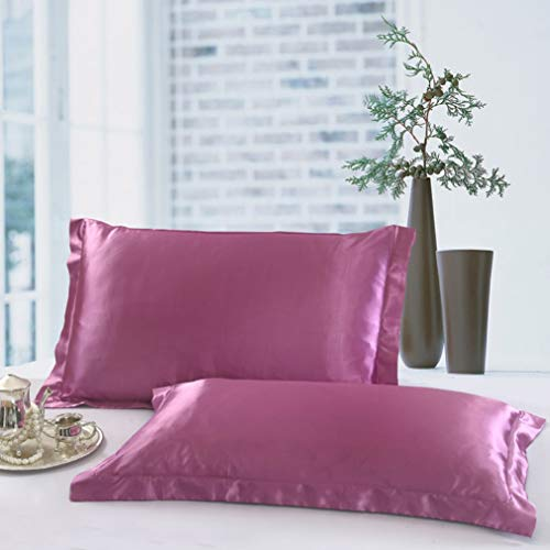 COCOSILK Luxury Satin Pillow Shams Pair, 2 Pack Queen Size Pillow Cases for Hair and Skin, Faux Mulberry Silk Pillowcase Covers, Super Soft & Comfortable