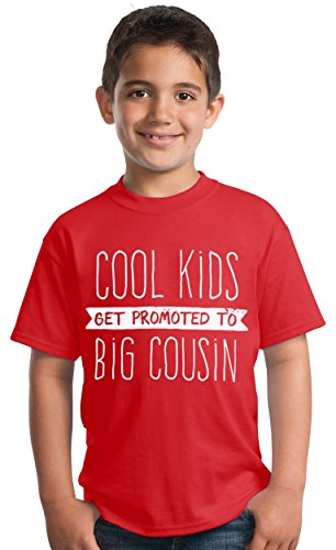 Cool Kids Get Promoted to Big Cousin | New Baby Funny Family Humor Youth T-Shirt-(Youth,S) Red