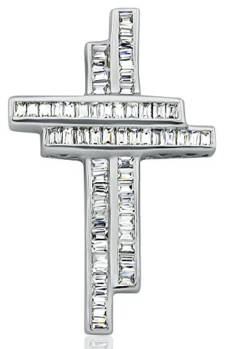 Contemporary Diamond Necklace - Sterling Manufacturers Women's Sterling Silver .925 Double Cross Pendant Slider for a Necklace, Baguette Channel-Set Cubic Zirconia (CZ) Stones By