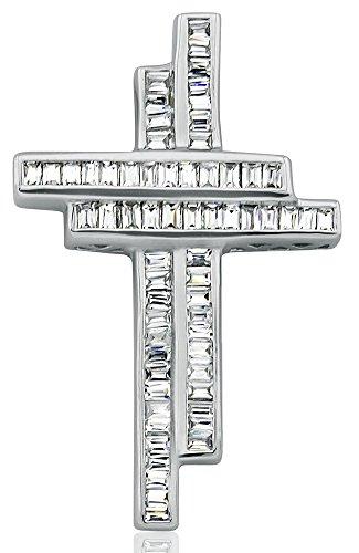 Sterling Manufacturers Women's Sterling Silver .925 Double Cross Pendant Slider for a Necklace, Baguette Channel-Set Cubic Zirconia (CZ) Stones (Baguette Cubic Zirconia Necklace)