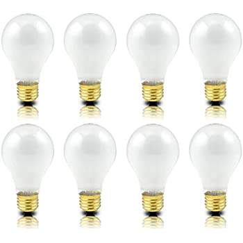 (Pack of 8) Incandescent 100 Watt A19 Light Bulb: Frosted Standard Household E26 Medium Base Rough Service Light Bulbs