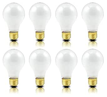 Pack Of 8 Incandescent 100 Watt A19 Light Bulb Frosted