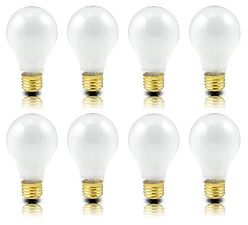 (Pack of 8) Incandescent 100 Watt A19 Light Bulb: Frosted Standard Household E26 Medium Base Rough Service Light Bulbs