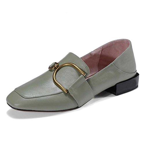 Negro Tacón Punta y Zapatos 39 para Desnudos Mujer 34 Medio con Color Zapatos Tamaño 36 Blanco Cerrada Cerrados Verde Verde Talla PPYxqza