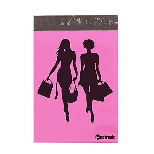 """Metronic 100 Pcs 10x13"""" Poly Mailer Envelopes Shipping Bags of Pink+Black Shopping Design with Self Adhesive, Waterproof and Tear-proof Postal Bags"""