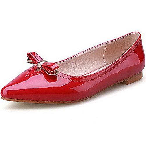 AalarDom Mujer Material Suave Sin cordones Puntiagudo Plano con Lazos Rojo