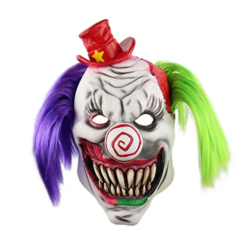 Horrific Demon Funny Monster Costume Vampire Cosplay Latex Halloween Scary Clown ()
