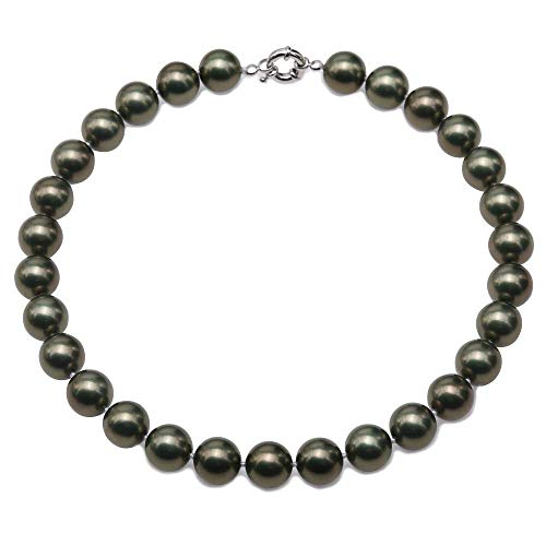 JYX Pearl Necklace 14mm South Sea Shell Pearl Necklace Green Round Shell Beads Jewelry for Women 17.5inch ()
