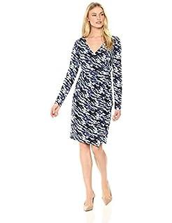 Brand Lark /& Ro Womens Long Sleeve Faux Wrap Dress