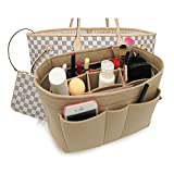 Felt Insert Fabric Purse Organizer Bag, Bag Insert In Bag with Zipper Inner Pocket Fits Neverfull Speedy 8010 Beige S