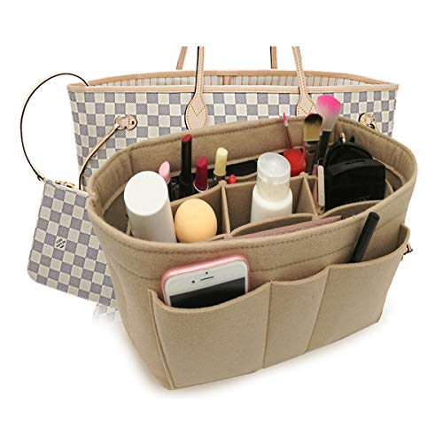 Felt Insert Fabric Purse Organizer Bag, Bag Insert In Bag with Zipper Inner Pocket Fits Neverfull Speedy 8010 Beige M