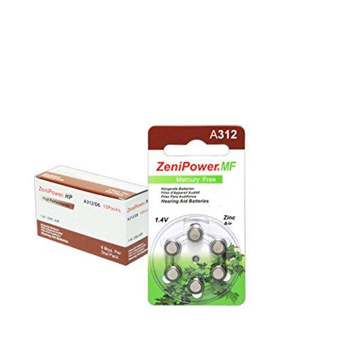 1.4v Zinc Air Battery - Zenipower Zinc-Air Hearing Aid Battery Size 312 (60)