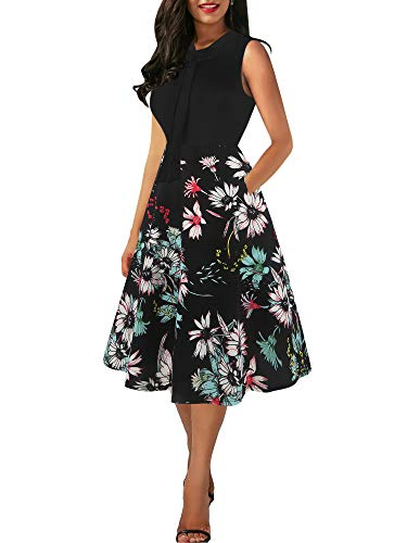oxiuly Women's Vintage Bow Tie V-Neck Pockets Casual Work Party Cocktail Swing A-line Dresses OX278 (S, Black-Blue - Patchwork Cocktail